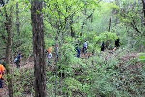 Full steam on our hiking at Cleburne State Park, Texas.