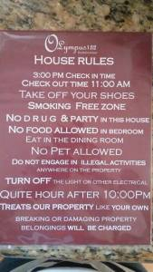 Olympus 132 Airbnb - house rules.