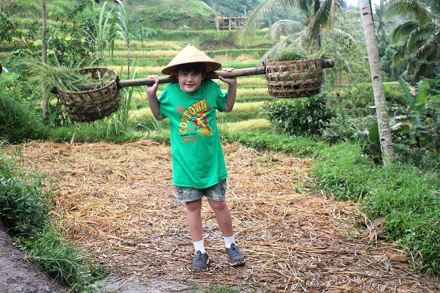 Visiting Bali with a 10-year-old boy: Tegalalang, Ubud: our little farmer