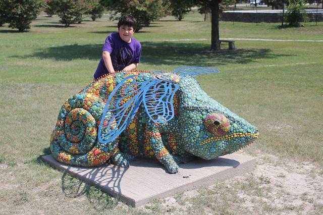 Hanna Springs Sculpture Garden - Lampasas TX - Chameleon - Two Worlds Treasures