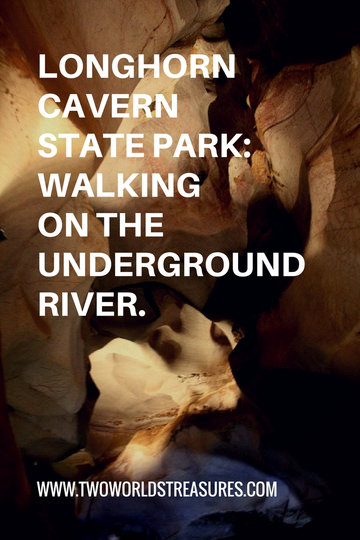 Longhorn Cavern State Park_Walking on the Underground River - pinterest image - Two Worlds Treasures