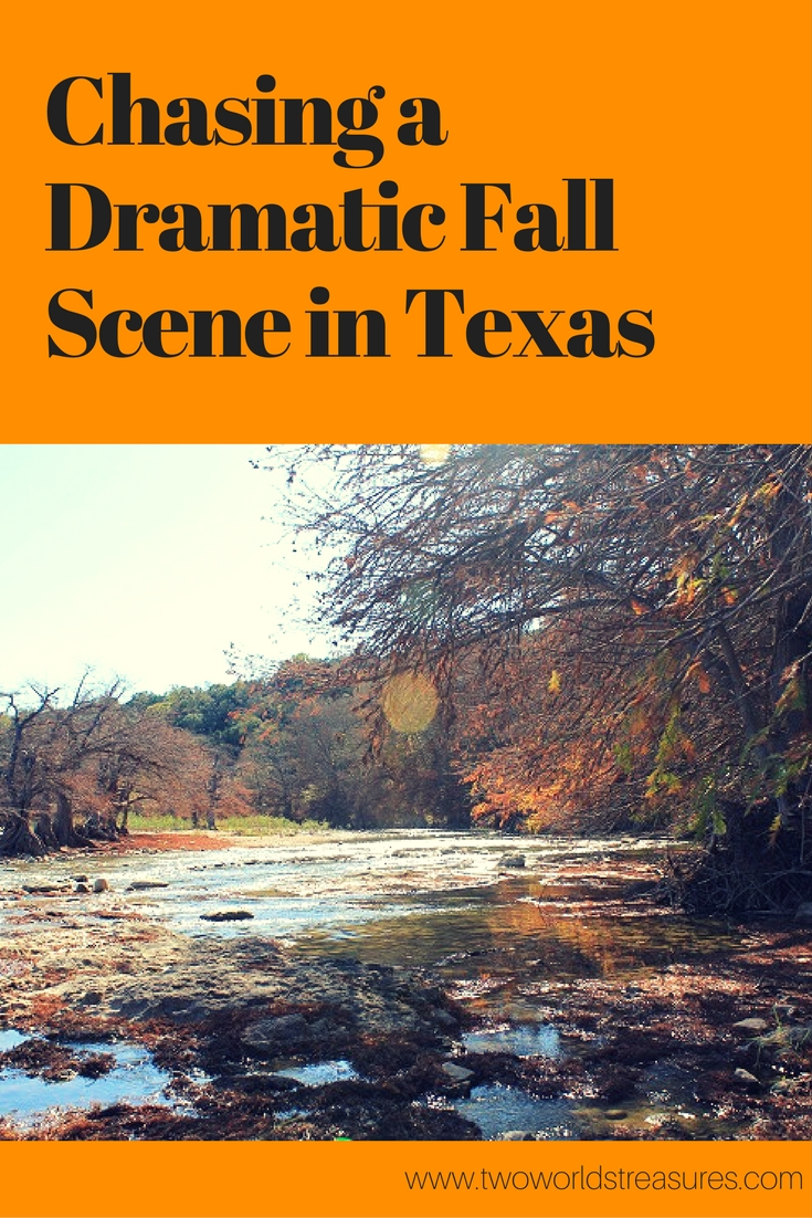 Chasing a Dramatic Fall Scene in Texas - Two Worlds Treasures - pin it