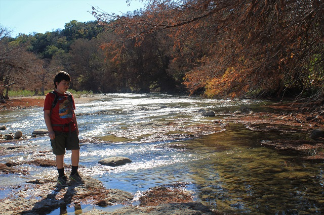 Chasing a Dramatic Fall Scene in Texas - J on Tremmell's Crossing Trail - Two Worlds Treasures