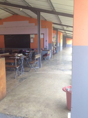 The classrooms are 3-walled, open to the outside