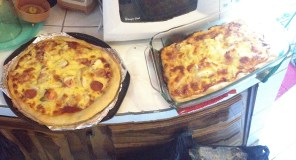 I made pizza again! Homemade crust and fresh pineapple with bacon and sausage