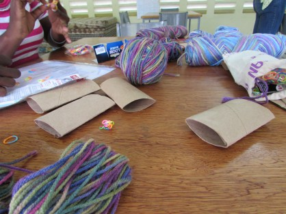 summer camp- making yarn dolls