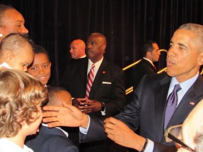He made sure to shake every child's hand