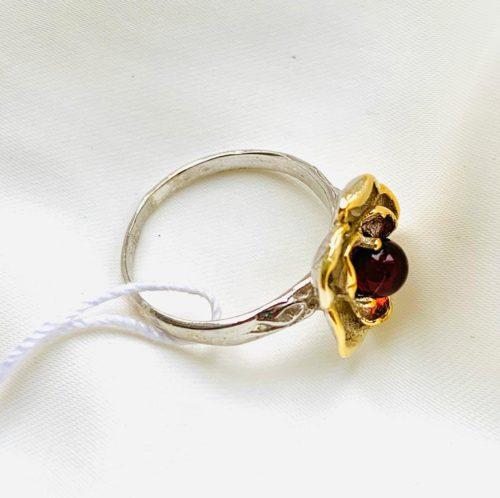 купить кольцо в позолоте с янтарем