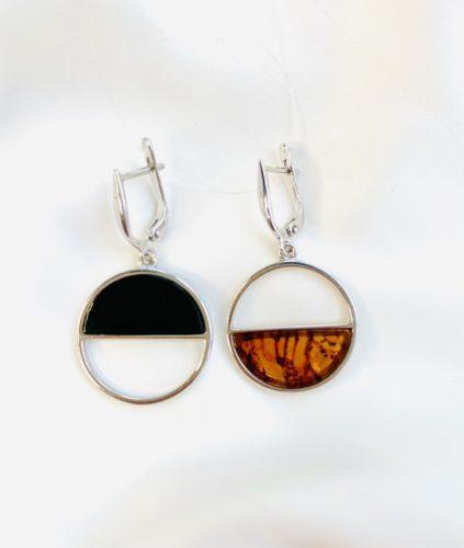 Серьги с янтарь в серебре,серьгив серебре с янтарем,черный янтарь,Геометрия души Mix