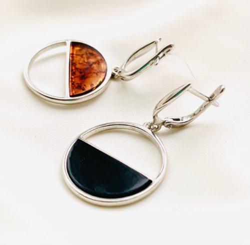 купить серьги с янтарем в серебре,TwoZi