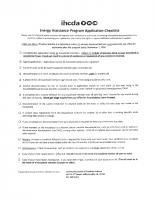Energy Assistance Program Application Checklist