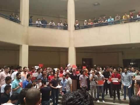 طلاب جامعة القاهرة يعتصمون ضد مجازر حلب