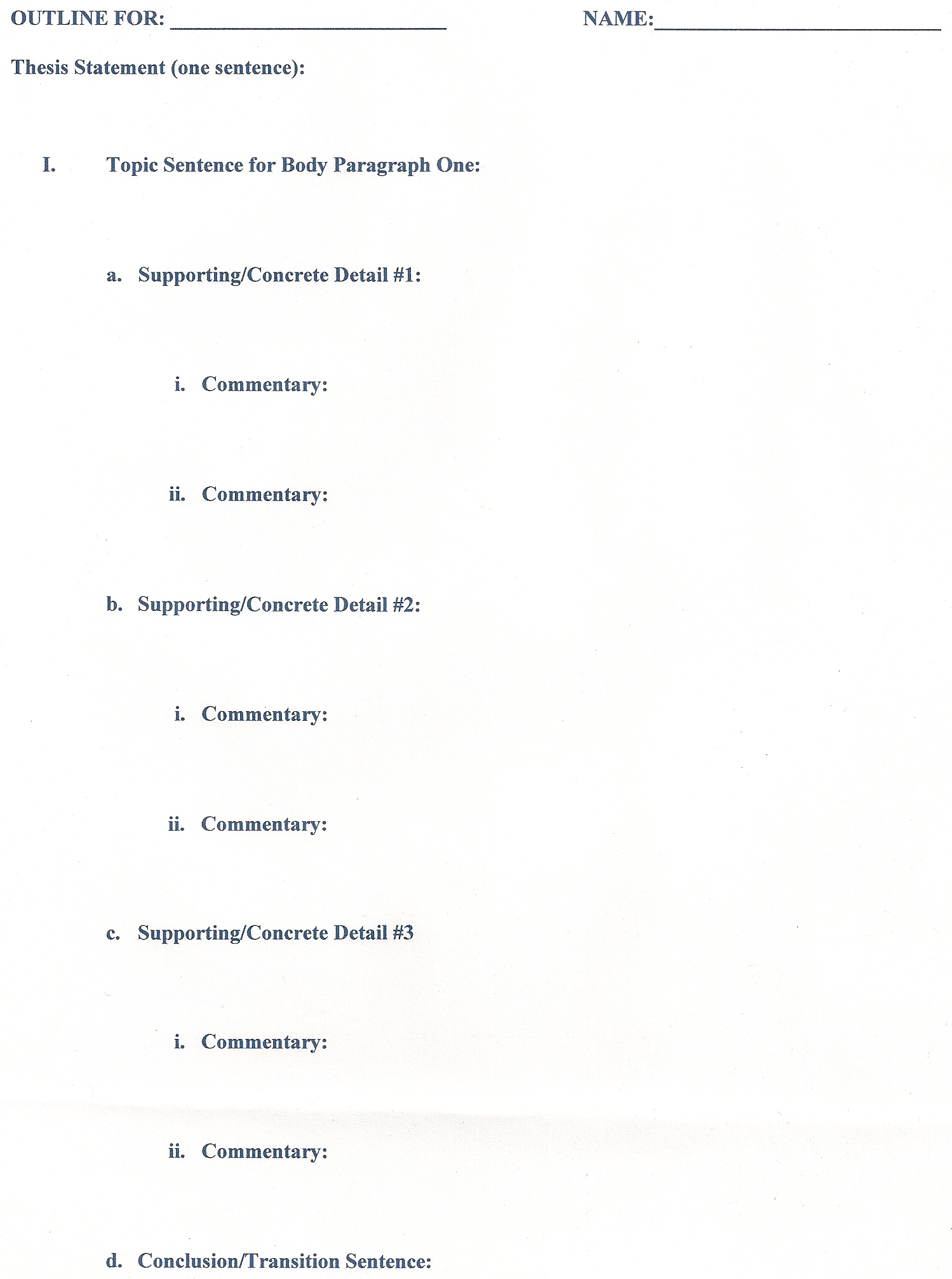 Samples Of Essay Outlines Example Of Essay Outlines Format Template