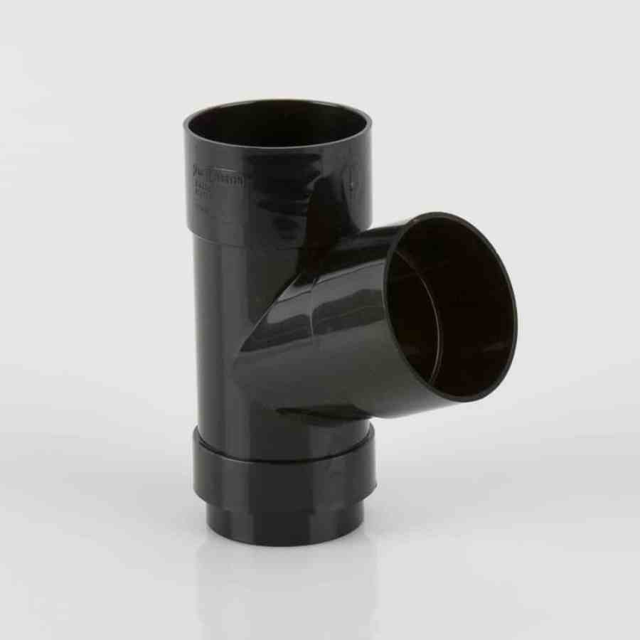 68mm Round Downpipe 112.5' Branch Black