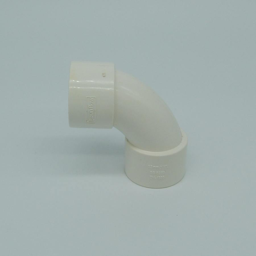 32mm solvent weld 90 swept bend white