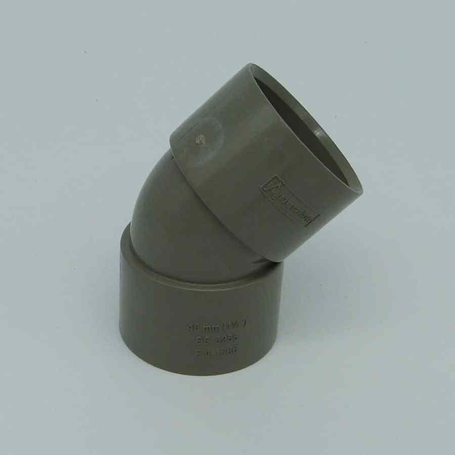 40mm Solvent Weld 135' Obtuse Bend Grey