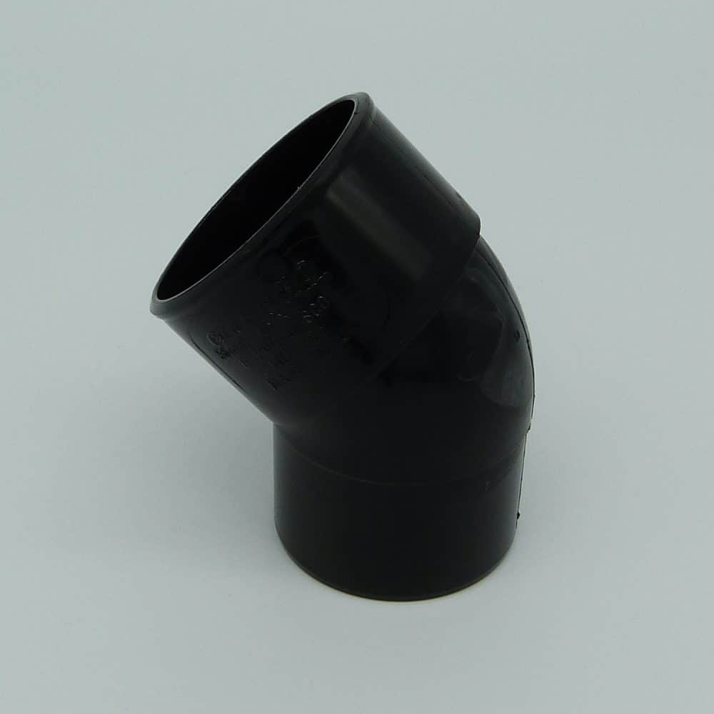 50mm solvent weld 45d street bend black