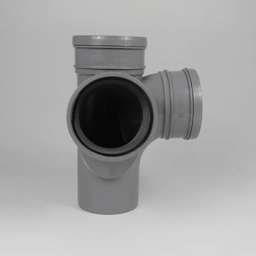 110mm PushFit Soil 90' D/S Corner Branch Grey
