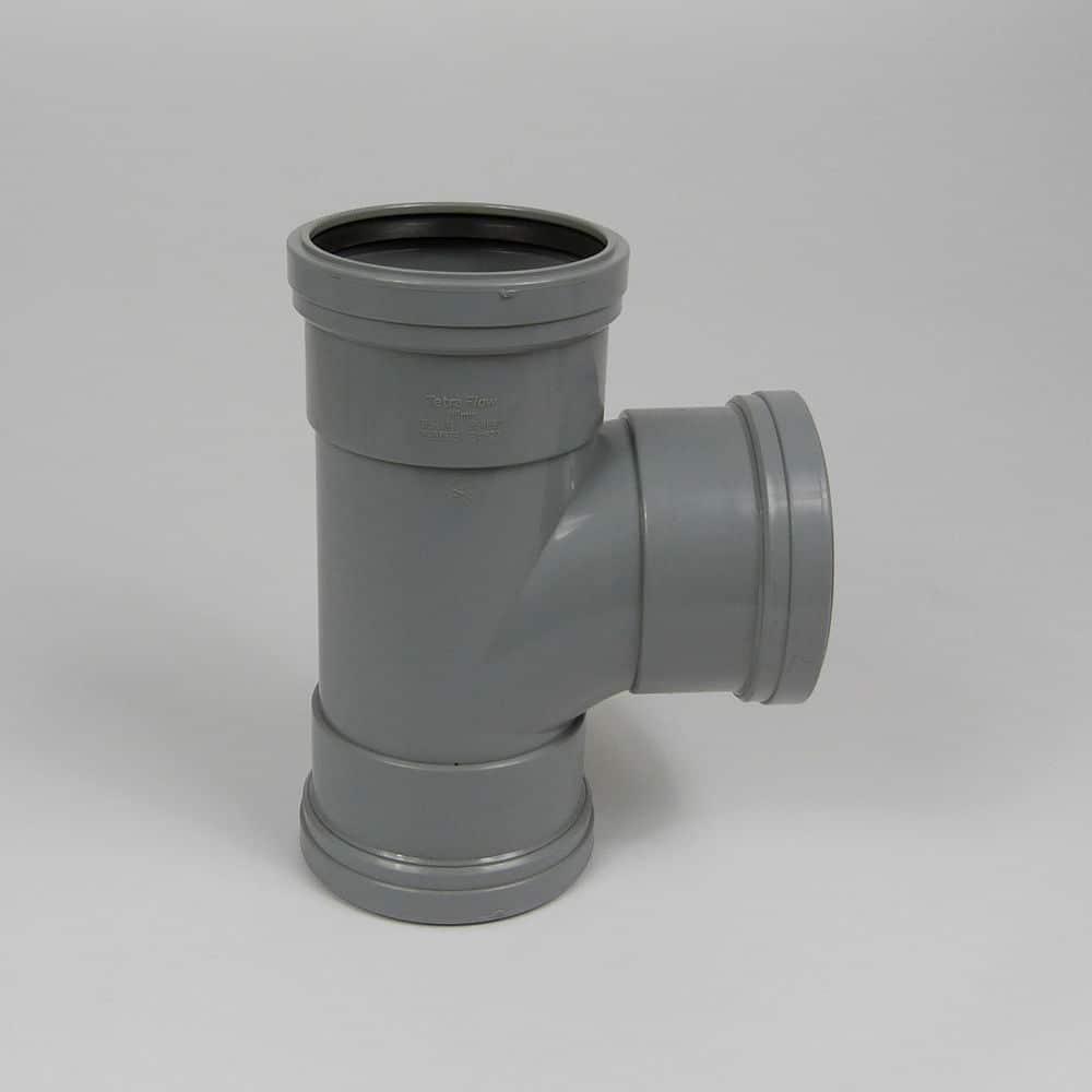 110mm PushFit Soil 90' T/S Plain Branch Grey