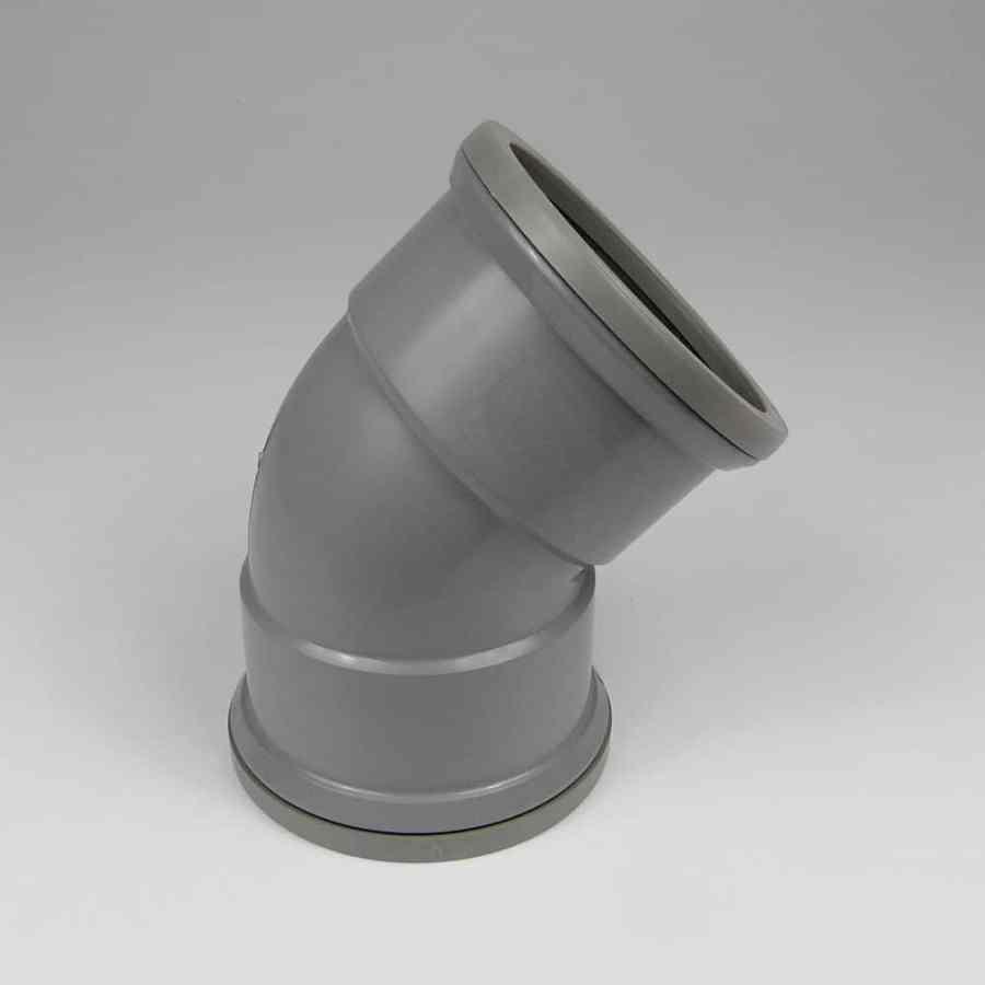 110mm PushFit Soil 45 Degree Double Socket Bend Grey