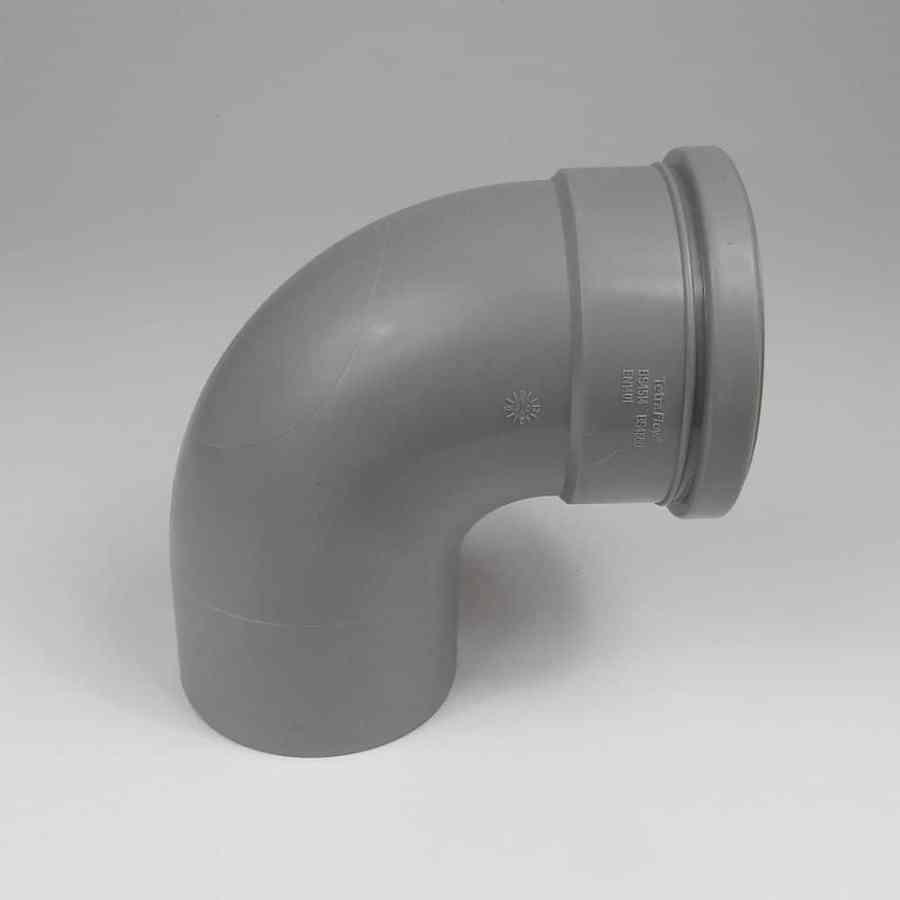 110mm PushFit Soil 90 degree Single Socket Bend Grey