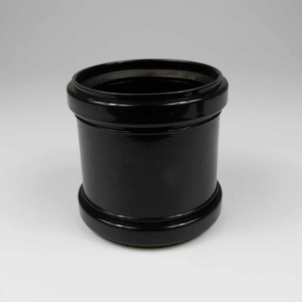 110mm Pushfit Soil Double Socked Coupler Black