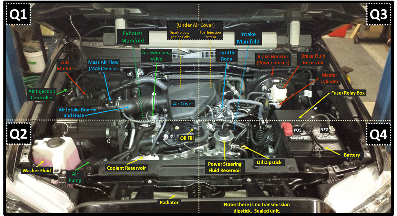 hight resolution of engine bay guide for the 2tre fe 2 7l