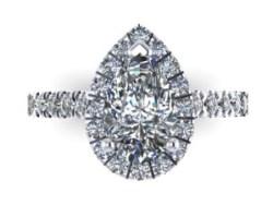 3D Render Pear-shaped Diamond Ring
