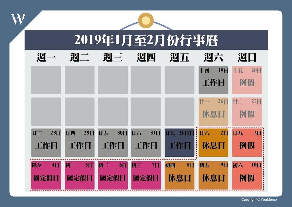 2019年春節連假(調整連假後)
