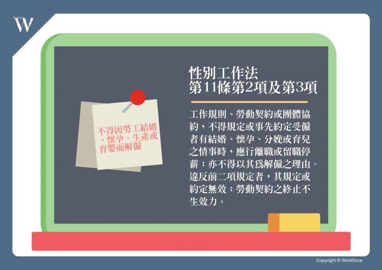 性別工作平等法第11條(不得因結婚、懷孕、生產或育嬰而解僱)