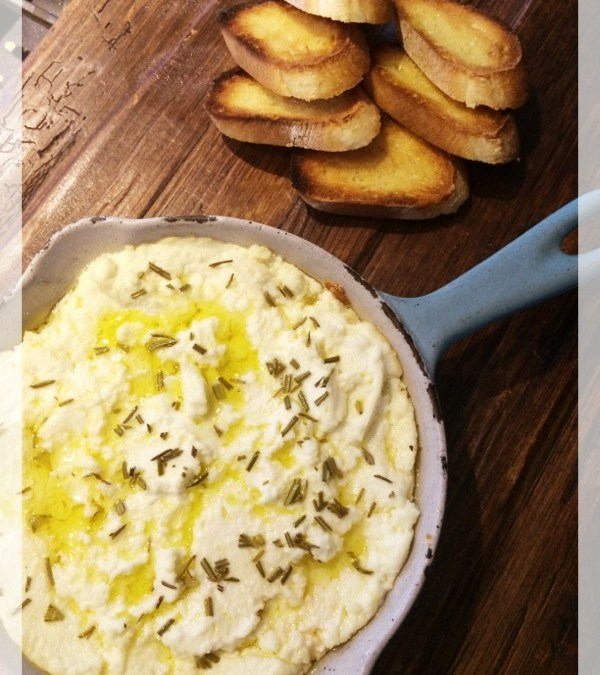 Hot Rosemary-Garlic Ricotta Dip. Simple. Easy. Delicious.