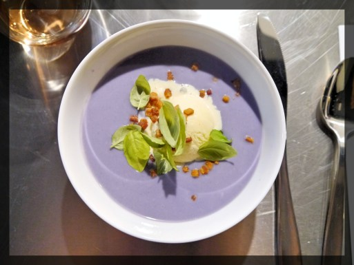 Red Cabbage Velouté with a Gorgonzola Sorbet