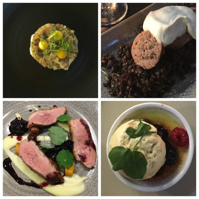 Top L: Tuna Tartare Top R: Warm Lentil Salad with Chorizo Bottom L: Smoked Duck Breast with Dark Cherries & Butternut Squash Bottom R: Coconut Creme Brûlée