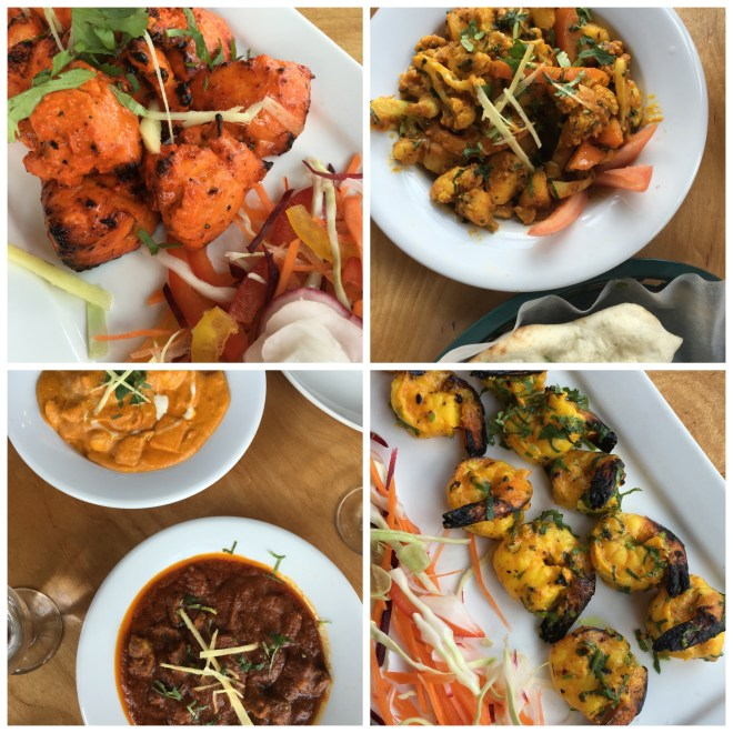Top L: Tandoori Chicken Top R: Aloo Gobi (cauliflower & potatoes) Bottom L: Chicken Korma & Lamb Rogan Josh Bottom R: Grilled Shrimp