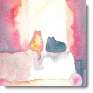Sunning Cats Watercolor