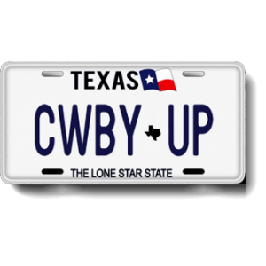 """Cowboy Up! CWBY UP """"Texas State Flag"""" Plate"""