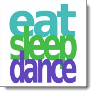 Eat Sleep Dance - Repeat! Big Bold Colorful design - elegant clean lines - Tricolor: Teal, Green, Purple - Customize it with your choice of background color
