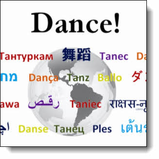 "Featuring the word for DANCE from every continent superimposed over a translucent earth this design shows that dancing is truly a ""global dance"" phenomenon"