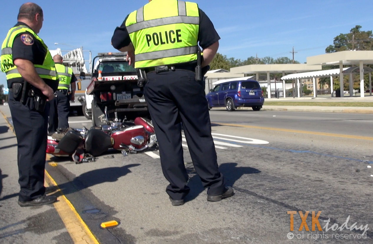 Accident on Texas Boulevard Traps Motorcycle Driver Under