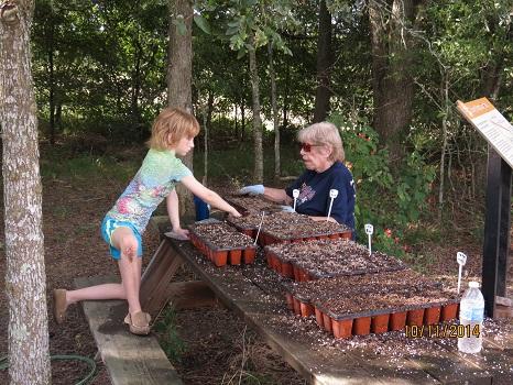 Jessie and Georgia-LDS Work Day-10-11-14-Demo Garden-resized