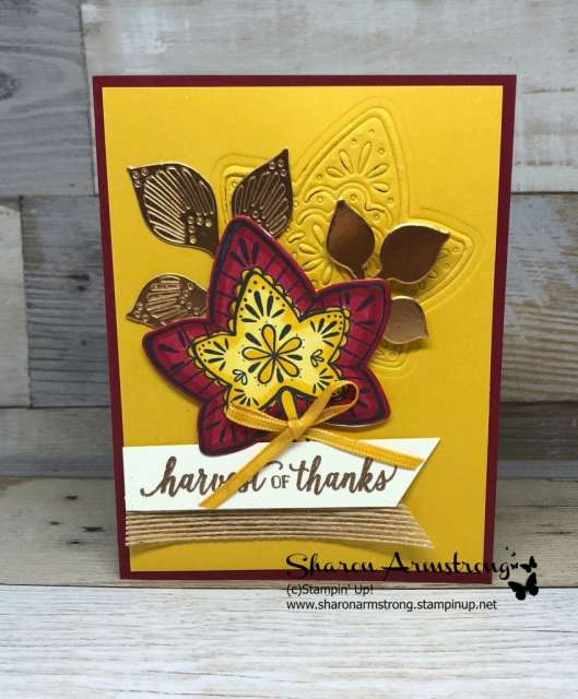 Fall Foliage Greeting Card: Video Tutorial Included. Tips using embossing mats, die cutting, & coloring with Stampin' Blends. You'll find lots of cardmaking inspiration here! #greetingcards #cardmaking #stampinupcards #SharonArmstrong #TxStampinSharon