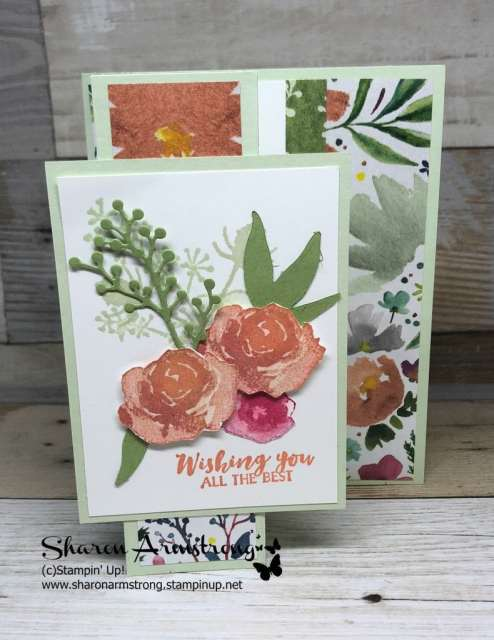 Learn how to make this Reverse Z Fold Interactive Card with this step by step video tutorial. A beautiful handmade card sure to please any recipient. #cardmaking #greetingcards #stampinupcards #sharonarmstrong #txstampin