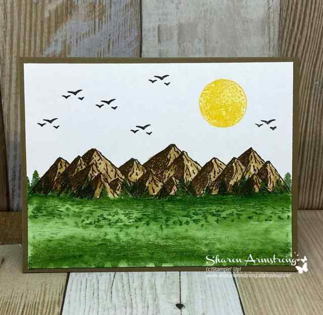 watercolor-techniques-on-greeting-card-with-mountains-birds-and-sun