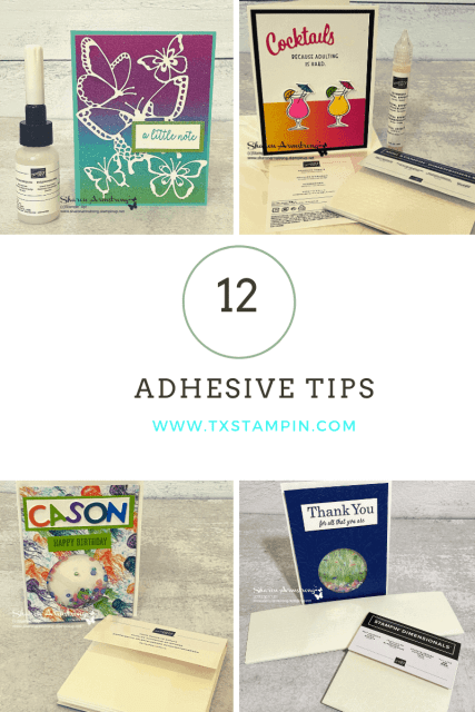 12 Adhesives ever paper crafter needs in their stamp room; the pinterest image.