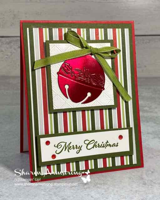 Learn how to make easy Christmas cards like this with a red foil ornament