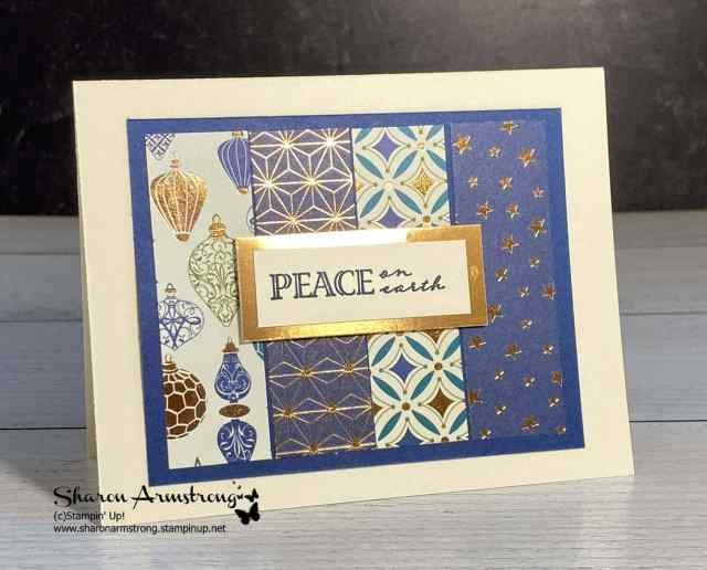 The Stampin' Up! Brightly Gleaming designer paper is the star of the show on this simple Christmas card