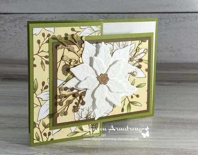This Poinsettia fun fold card is a z-fold with a die cut layered flower.