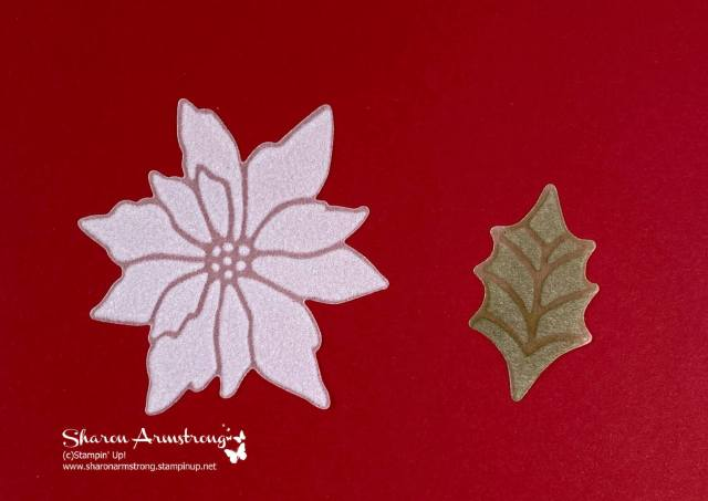Use these die cut Poinsettia and leaves to make your card beautiful