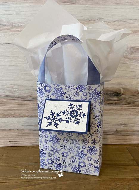 This DIY Gift Bag features snowflakes that are perfect all winter long.