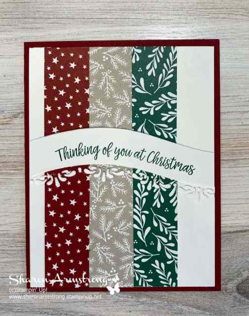 Make a Christmas card with paper scraps and curvy die cuts